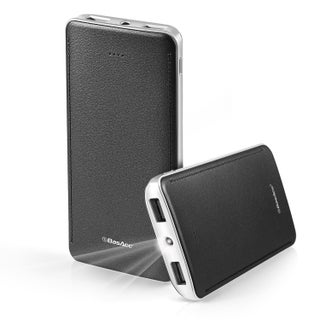 BasAcc 10000mAh 2-port 2.1A USB Slim Leather-like Design Portable Power Bank with LED Battery Indicator and Flashlight