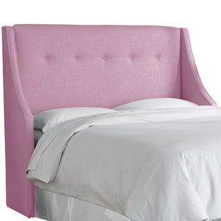 angelo:HOME Lavender Linen and Polyester Button-tufted Wingback Headboard
