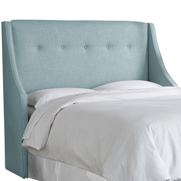 angelo:HOME Blue Seaglass Linen/Polyester Button-tufted Wingback Headboard
