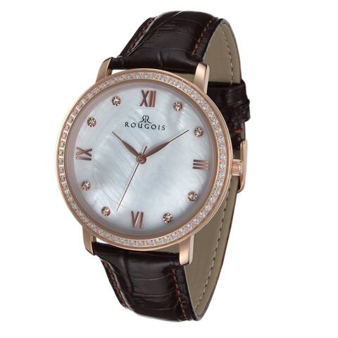 Rougois Covington Series Rose Goldtone Stainless-steel Watch with Leather Band