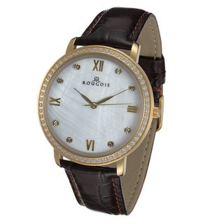 Rougois Covington Series Gold Tone Stainless Steel Watch with Leather Band