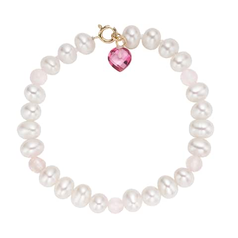 Pearlyta 14-karat Children's Freshwater Pearl and Heart Gem Bracelet