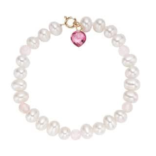 Pearlyta 14-karat Children's Freshwater Pearl and Heart Gem Bracelet|https://ak1.ostkcdn.com/images/products/11897032/P18791491.jpg?impolicy=medium