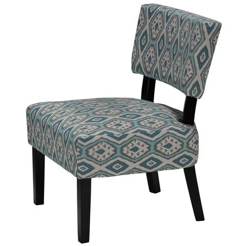 Cortesi Home Largo Diamond Fabric/ Wood Armless Accent Chair