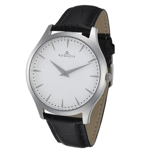 Rougois Gentry Series Stainless Steel Black Leather Band Watch