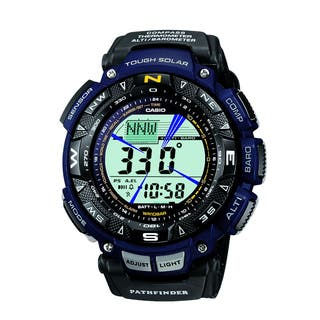 "Casio Men's PAG240B-2CR ""Pathfinder"" Sport Watch with Black Leather and Blue Cloth Band