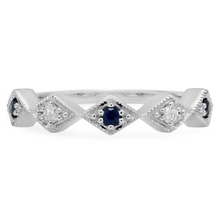 14-karat Gold Round-cut Blue Sapphire and White Diamond Vintage Millgrain Stackable Band