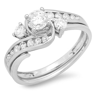 Women's 10-karat Gold Diamond Engagement Ring with Matching Band (I-J, I1-I2)