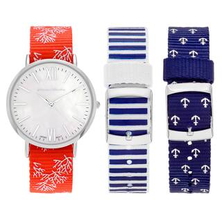 Journee Collection Women's Stainless Steel White Dial Interchangeable Nautical Strap Watch Set|https://ak1.ostkcdn.com/images/products/11897131/P18791557.jpg?impolicy=medium