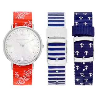 Journee Collection Women's Stainless Steel White Dial Interchangeable Nautical Strap Watch Set - Silver