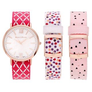 Journee Collection Women's Rose Goldtone Stainless Steel Interchangeable Nylon Strap Watch Set