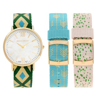 Journee Collection Women's Goldtone Stainless Steel Interchangeable Nylon Strap Watch Set|https://ak1.ostkcdn.com/images/products/11897134/P18791559.jpg?impolicy=medium