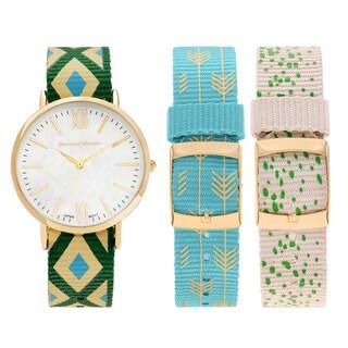 Journee Collection Women's Goldtone Stainless Steel Interchangeable Nylon Strap Watch Set