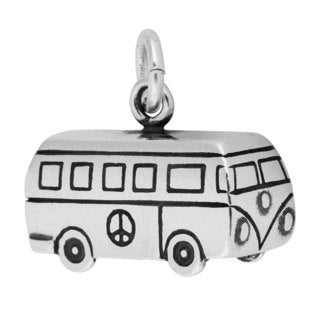 Sterling Silver Antiqued 3D Bus Camper Charm Pendant (10.5 x 15 mm)
