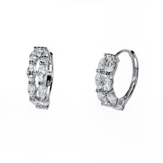 Pori 18-karat Gold-plated or Rhodium-plated Sterling Silver Marquise Cubic Zirconia Huggie Earrings