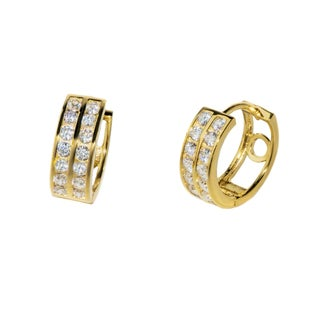 Pori 18k-goldplated or Rhodiumplated Sterling Silver Cubic Zirconia Round 2-row Huggie Earrings