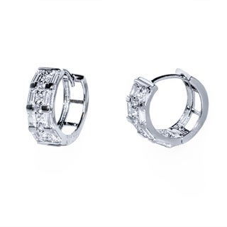 Pori Rhodium-plated Sterling Silver Rectangle and Round CZ 3-row Huggie Earrings