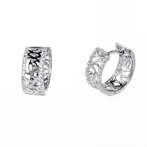 Pori 18-karat Gold-plated or Rhodium-plated Sterling Silver Cubic Zirconia Earrings