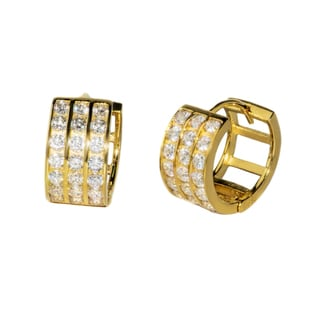 Pori 18-karat Gold- or Rhodium-plated Sterling Silver Round-cut CZ Three-row Huggie Earrings