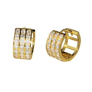 Pori 18-karat Gold- or Rhodium-plated Sterling Silver Round-cut CZ Three-row Huggie Earrings
