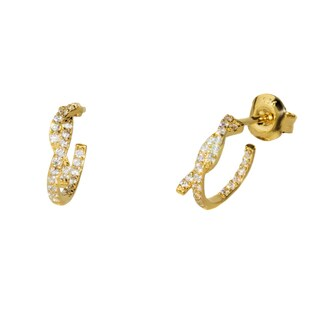 Pori 18k Gold-plated or Rhodium-plated Sterling Silver Cubic Zirconia Twisted Inside Out Huggie Earrings