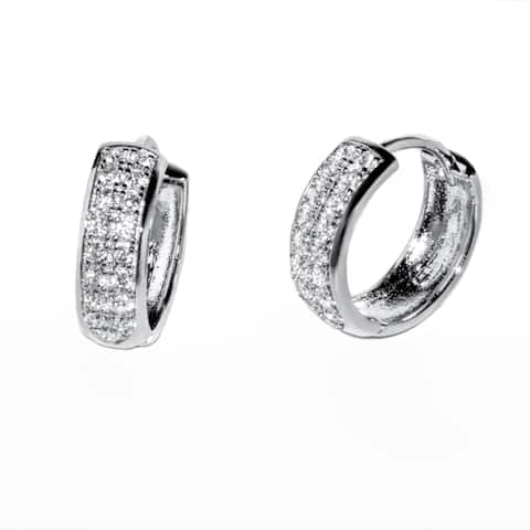 Pori Women's Gold Plated or Rhodium-plated Sterling Silver Cubic Zirconia 2 Row Round Saddleback