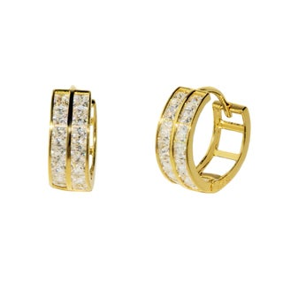 Pori 18k Yellow Goldplated or Rhodium-plated Sterling Silver Cubic Zirconia Hoop Earrings