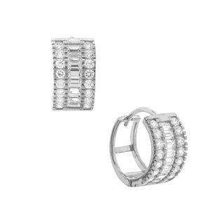 Pori 18k Gold Plated or Rhodium Plated Sterling Silver Cubic Zirconia Huggie Earrings