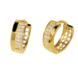 Pori 18K Gold Plated or Rhodium Sterling Silver Cubic Zirconia Huggie Earrings