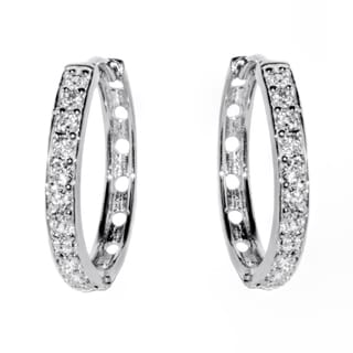 Pori 18-karat Gold-plated or Rhodium-plated Sterling Silver Cubic Zirconia 1-row Round Stone Huggie Earrings