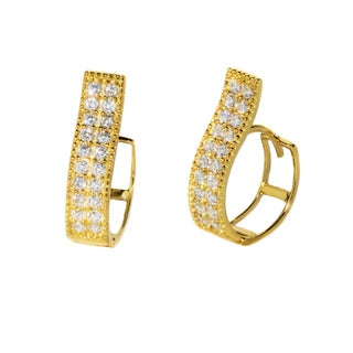 Pori 18k Gold-plated or Rhodium-plated Sterling Silver Cubic Zirconia 2-row Swirl Huggie Earrings