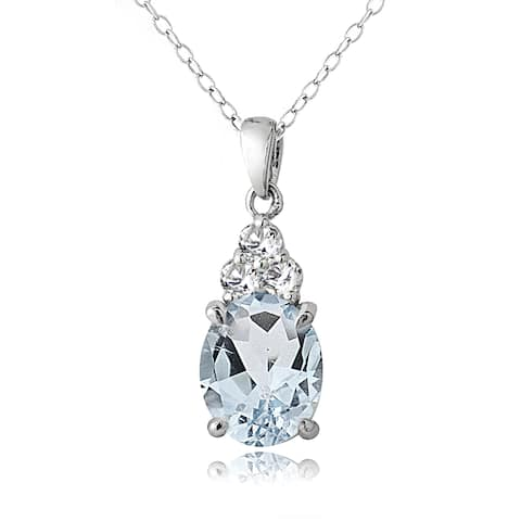 Glitzy Rocks Sterling Silver 2.1ct Aquamarine and White Topaz Oval Necklace