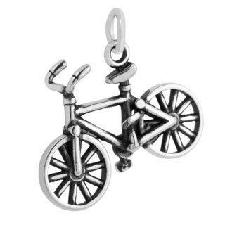 Sterling Silver 3D Bicycle Charm Pendant (15.5 x 21 mm)