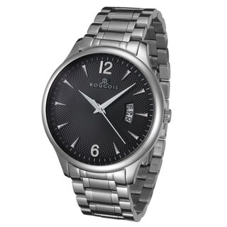 Rougois Madison Series Black Textured Dial Stainless Steel Watch