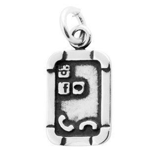 Sterling Silver Antiqued Smart Phone Charm Pendant (8.5 x 15 mm)