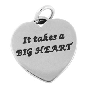 Sterling Silver It Takes a Big Heart to Teach Little Minds Charm Pendant (15 x 15.5 mm)