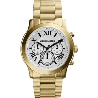 Michael Kors Women's Cooper White Chronograph Dial Gold Tone Stainless Steel Bracelet Watch