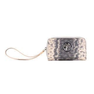 Versace Collectio Zip Around Piccolo Vitello Stampa Karung in Grey/Tan(As Is Item)