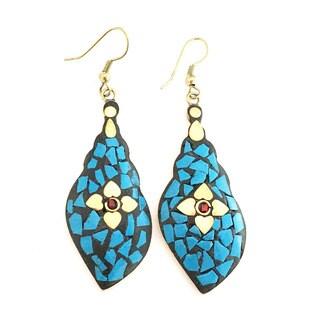 Tiara Global Blue Flower Mosaic Earrings