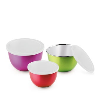 Paradise microwave safe stainless steel bowls- Set of 3