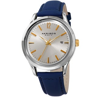 Akribos XXIV Women's Quartz Sunray Blue Leather Strap Watch