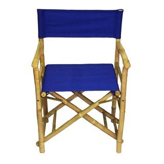 Handmade Set of 2 Bamboo Director's Chairs (Vietnam) (Option: Blue)