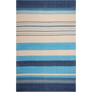 Fab Habitat Recycled Cotton Moksha Blue Rug