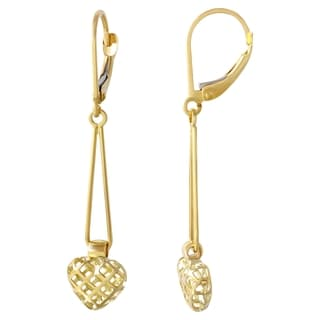 14k Yellow Gold Puffy Heart Square Cut-out Dangle Earrings