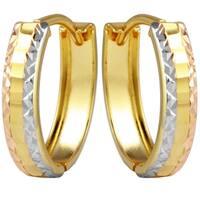 14k Tricolor Diamond Cut Earrings