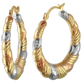 14k Tricolor Gold Round Hoop Earrings