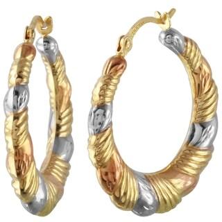 14k Tricolor Gold Round Hoop Earrings