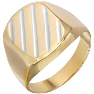 14k Two-tone Diagonal Gold Men's Ring, Size 10