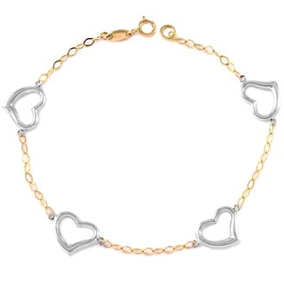 14k White and Yellow Gold Rolo Heart Charm Bracelet