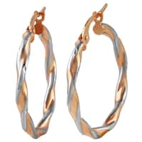 14k Italian Rose and White Gold Twisted Hoop Earrings